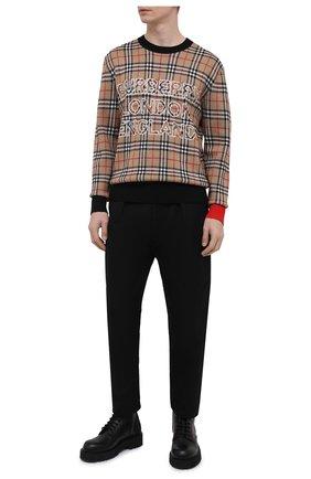 Мужской свитер из шерсти и хлопка BURBERRY бежевого цвета, арт. 8038621 | Фото 2