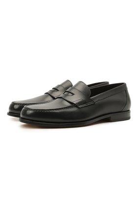 Мужские кожаные пенни-лоферы SANTONI черного цвета, арт. MCQU13207LA3S0RMN01 | Фото 1 (Материал внутренний: Натуральная кожа; Мужское Кросс-КТ: Лоферы-обувь; Стили: Классический)