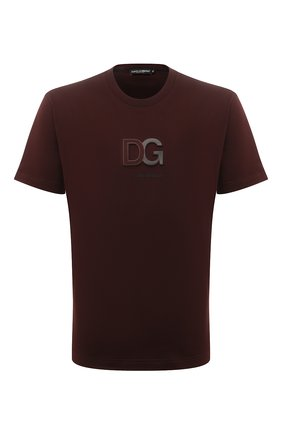 Мужская хлопковая футболка DOLCE & GABBANA бордового цвета, арт. G8M02Z/FU7EQ   Фото 1