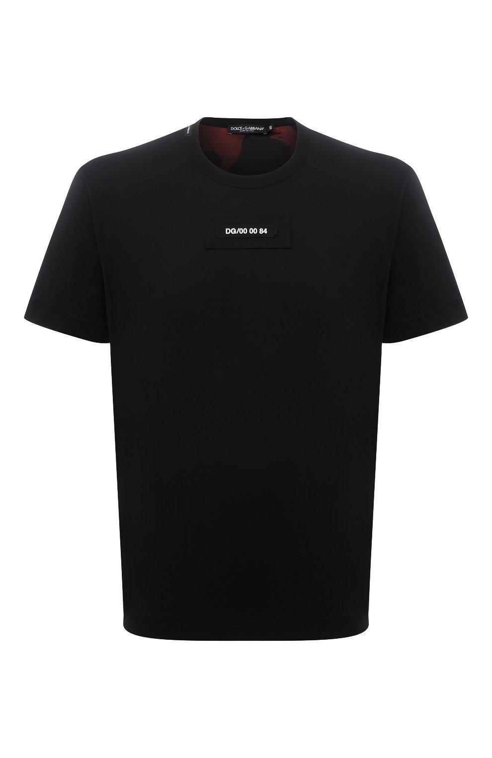 Мужская хлопковая футболка DOLCE & GABBANA черного цвета, арт. G8MW1Z/G7YIV | Фото 1 (Рукава: Короткие; Длина (для топов): Стандартные; Принт: С принтом; Стили: Милитари; Материал внешний: Хлопок)