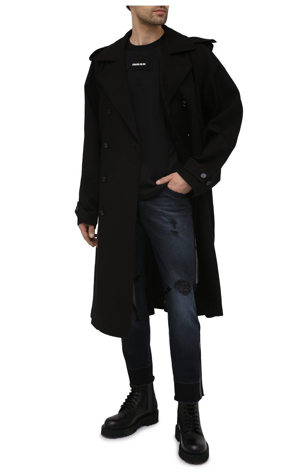 Мужская хлопковая футболка DOLCE & GABBANA черного цвета, арт. G8MW1Z/G7YIV | Фото 2 (Рукава: Короткие; Длина (для топов): Стандартные; Принт: С принтом; Стили: Милитари; Материал внешний: Хлопок)