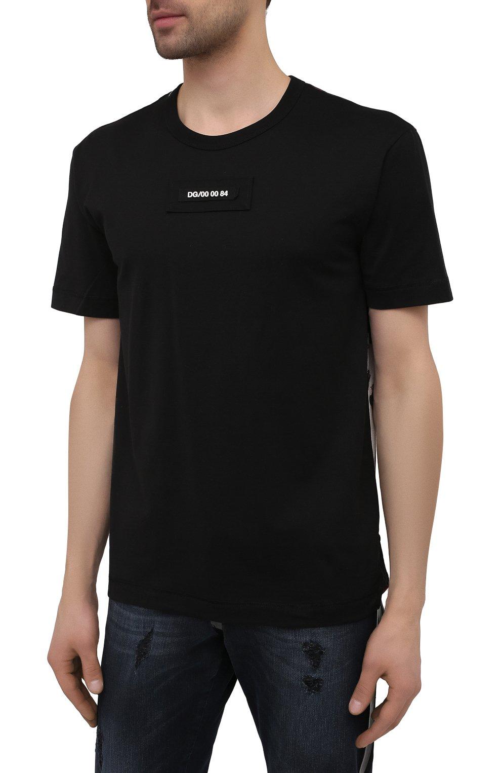 Мужская хлопковая футболка DOLCE & GABBANA черного цвета, арт. G8MW1Z/G7YIV | Фото 3 (Рукава: Короткие; Длина (для топов): Стандартные; Принт: С принтом; Стили: Милитари; Материал внешний: Хлопок)