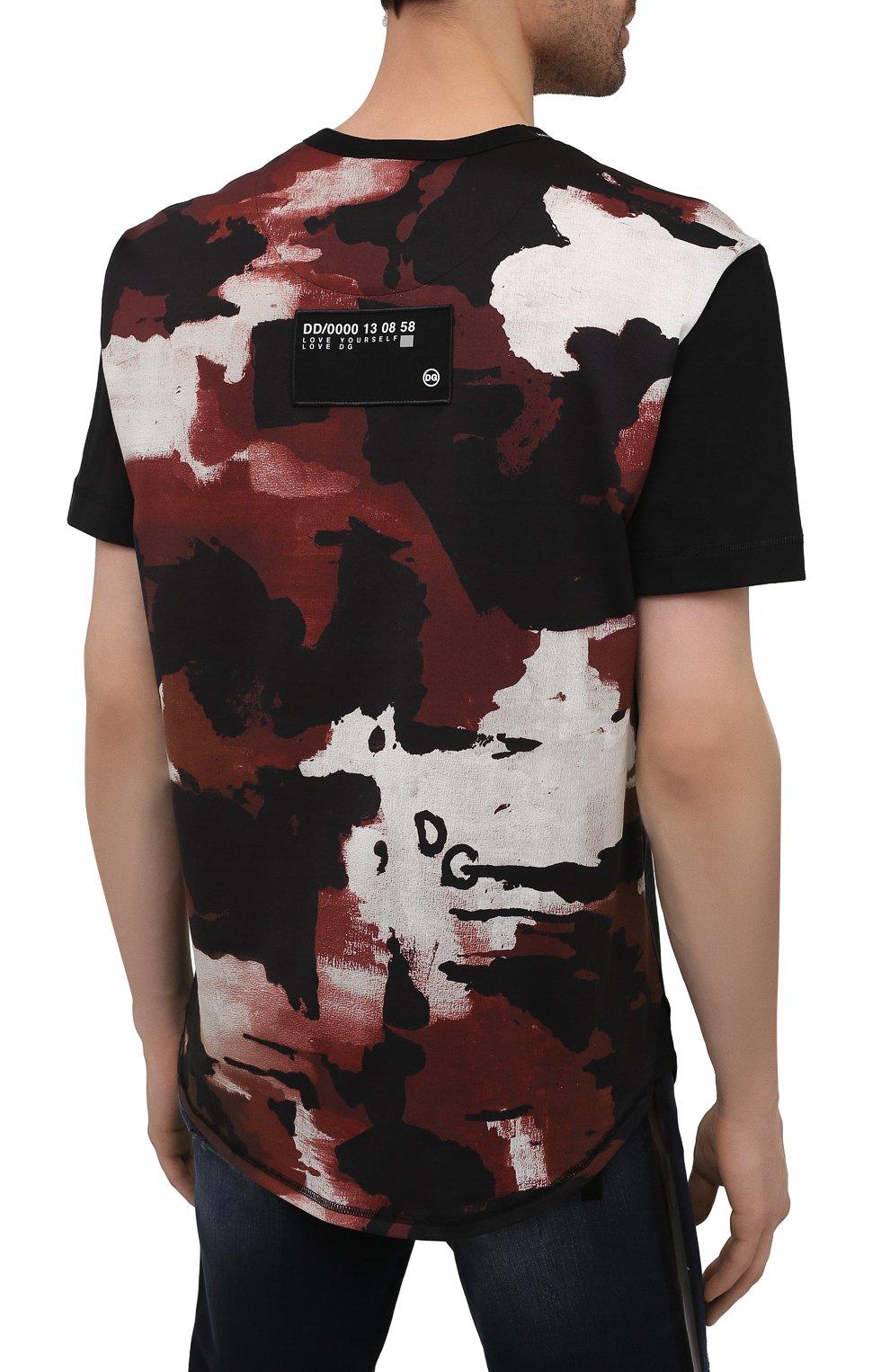 Мужская хлопковая футболка DOLCE & GABBANA черного цвета, арт. G8MW1Z/G7YIV | Фото 4 (Рукава: Короткие; Длина (для топов): Стандартные; Принт: С принтом; Стили: Милитари; Материал внешний: Хлопок)