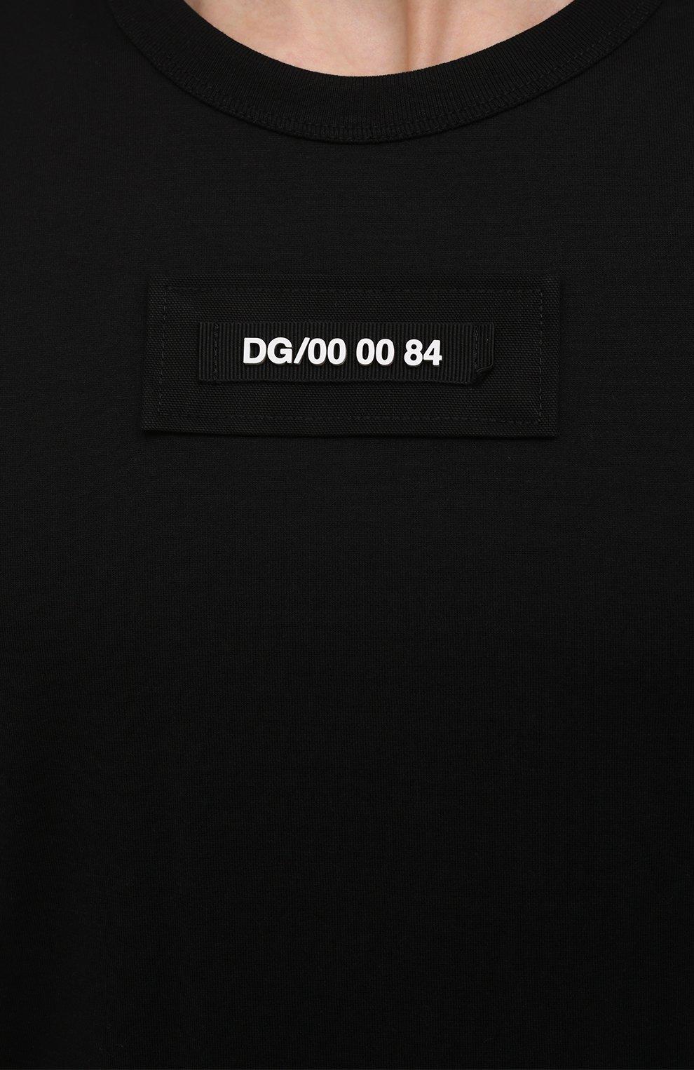 Мужская хлопковая футболка DOLCE & GABBANA черного цвета, арт. G8MW1Z/G7YIV | Фото 5 (Рукава: Короткие; Длина (для топов): Стандартные; Принт: С принтом; Стили: Милитари; Материал внешний: Хлопок)