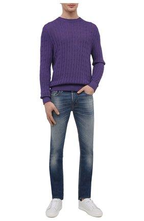 Мужской хлопковый свитер FEDELI фиолетового цвета, арт. 4UED5511 | Фото 2