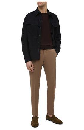 Мужские замшевые пенни-лоферы TOD'S темно-зеленого цвета, арт. XXM02E0EC600A6 | Фото 2 (Материал внутренний: Натуральная кожа; Мужское Кросс-КТ: Лоферы-обувь; Стили: Кэжуэл; Материал внешний: Замша)