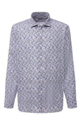 Мужская льняная рубашка SONRISA синего цвета, арт. IL7/C4118/47-51 | Фото 1 (Рукава: Длинные; Длина (для топов): Стандартные; Материал внешний: Лен; Случай: Повседневный; Принт: С принтом; Воротник: Акула; Рубашки М: Classic Fit; Big sizes: Big Sizes; Стили: Кэжуэл; Манжеты: На пуговицах)
