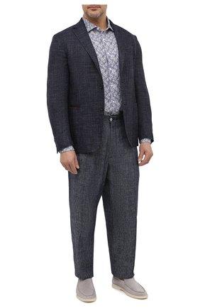 Мужская льняная рубашка SONRISA синего цвета, арт. IL7/C4118/47-51 | Фото 2 (Рукава: Длинные; Длина (для топов): Стандартные; Материал внешний: Лен; Случай: Повседневный; Принт: С принтом; Воротник: Акула; Рубашки М: Classic Fit; Big sizes: Big Sizes; Стили: Кэжуэл; Манжеты: На пуговицах)
