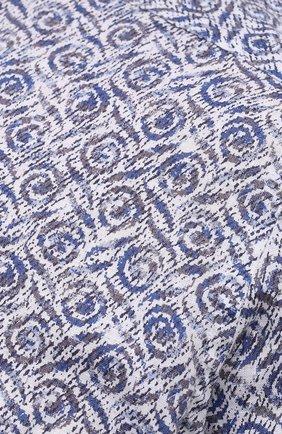 Мужская льняная рубашка SONRISA синего цвета, арт. IL7/C4118/47-51 | Фото 5 (Манжеты: На пуговицах; Big sizes: Big Sizes; Рукава: Длинные; Рубашки М: Classic Fit; Воротник: Акула; Случай: Повседневный; Длина (для топов): Стандартные; Принт: С принтом; Материал внешний: Лен; Стили: Кэжуэл)