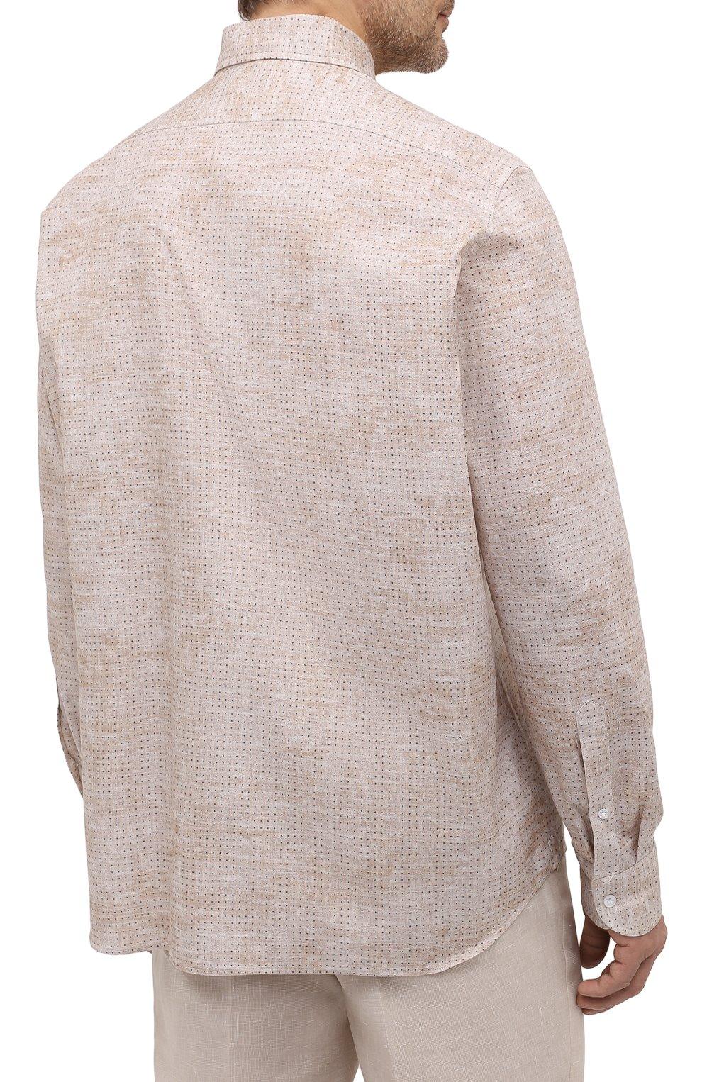 Мужская хлопковая рубашка SONRISA бежевого цвета, арт. IL7/C4077/47-51   Фото 4 (Манжеты: На пуговицах; Big sizes: Big Sizes; Рукава: Длинные; Рубашки М: Classic Fit; Воротник: Акула; Случай: Повседневный; Длина (для топов): Стандартные; Принт: С принтом; Материал внешний: Хлопок; Стили: Кэжуэл)