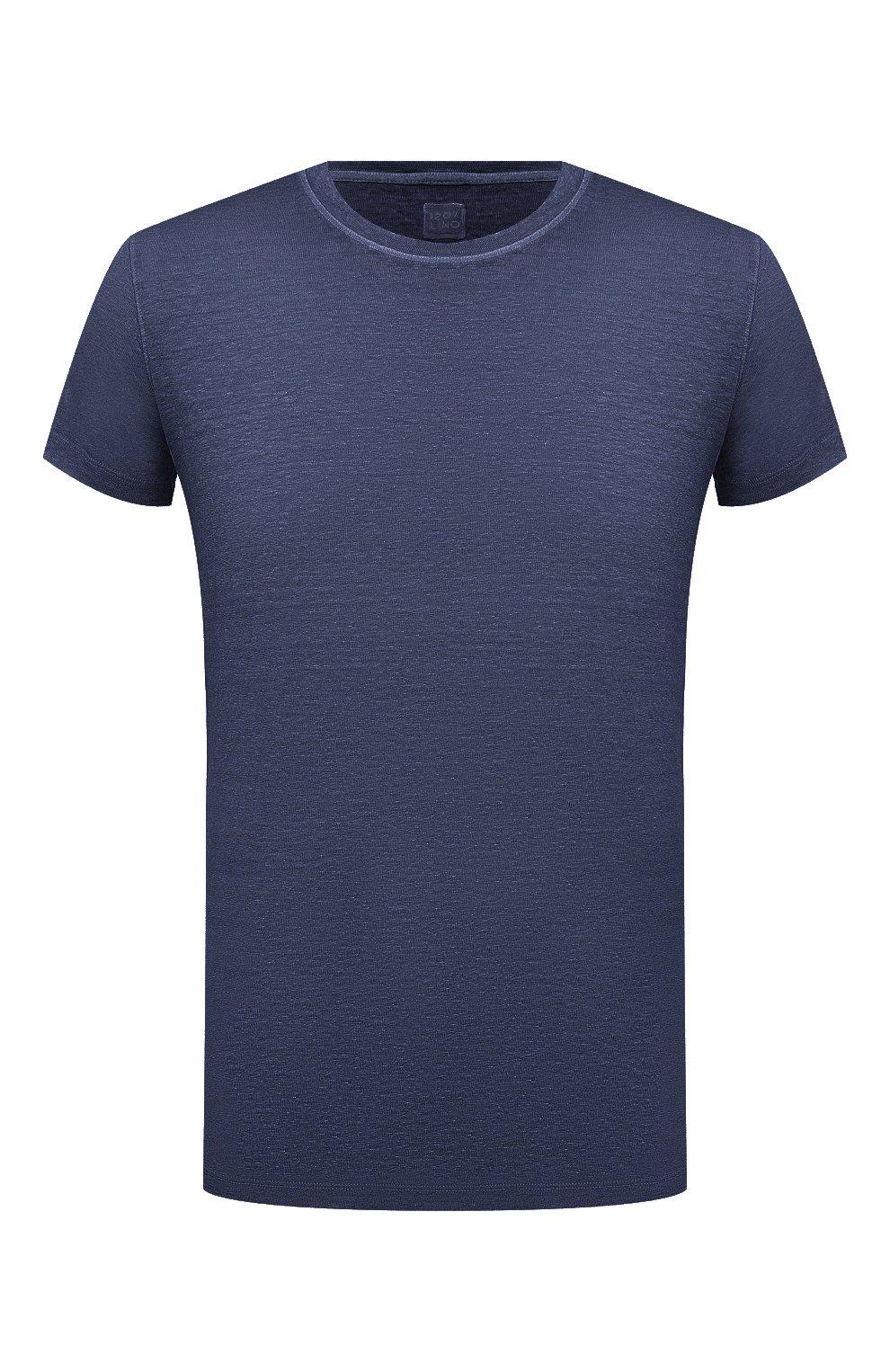 Мужская льняная футболка 120% LINO темно-синего цвета, арт. T0M7186/E908/S00   Фото 1 (Принт: Без принта; Рукава: Короткие; Длина (для топов): Стандартные; Материал внешний: Лен; Стили: Кэжуэл)