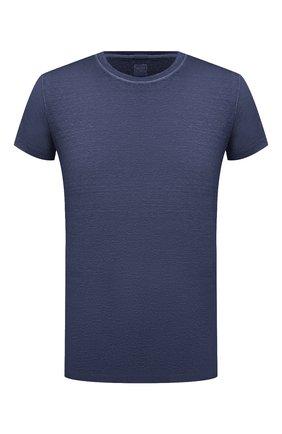 Мужская льняная футболка 120% LINO темно-синего цвета, арт. T0M7186/E908/S00   Фото 1 (Рукава: Короткие; Длина (для топов): Стандартные; Материал внешний: Лен; Принт: Без принта; Стили: Кэжуэл)