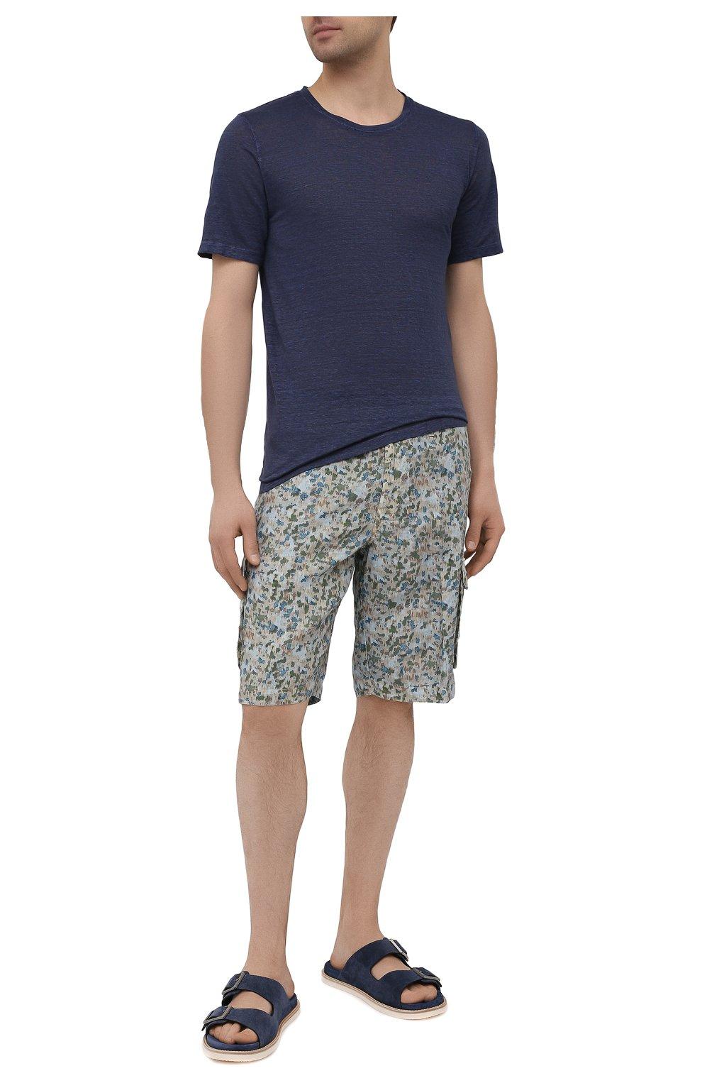 Мужская льняная футболка 120% LINO темно-синего цвета, арт. T0M7186/E908/S00   Фото 2 (Принт: Без принта; Рукава: Короткие; Длина (для топов): Стандартные; Материал внешний: Лен; Стили: Кэжуэл)
