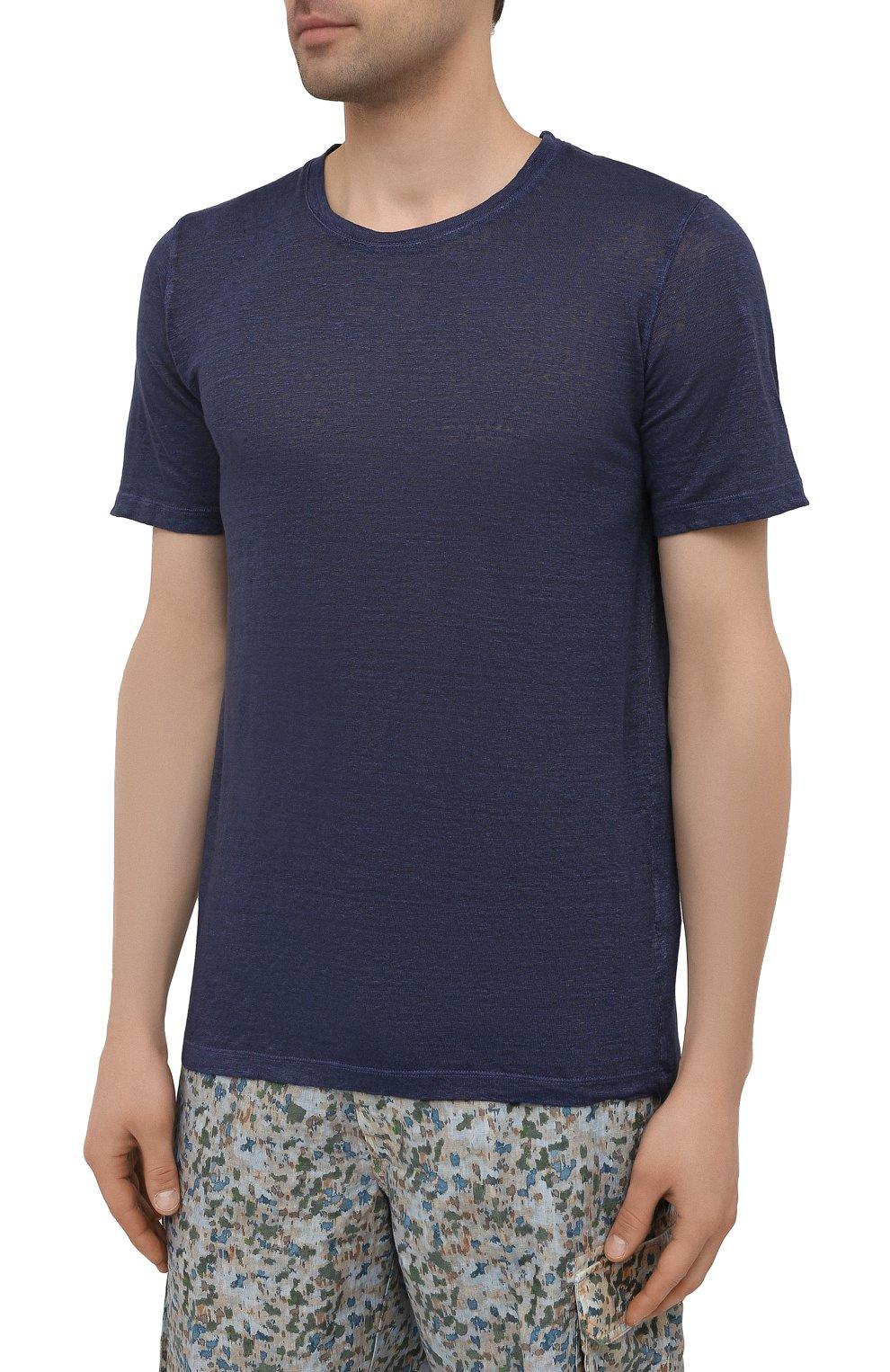 Мужская льняная футболка 120% LINO темно-синего цвета, арт. T0M7186/E908/S00   Фото 3 (Принт: Без принта; Рукава: Короткие; Длина (для топов): Стандартные; Материал внешний: Лен; Стили: Кэжуэл)