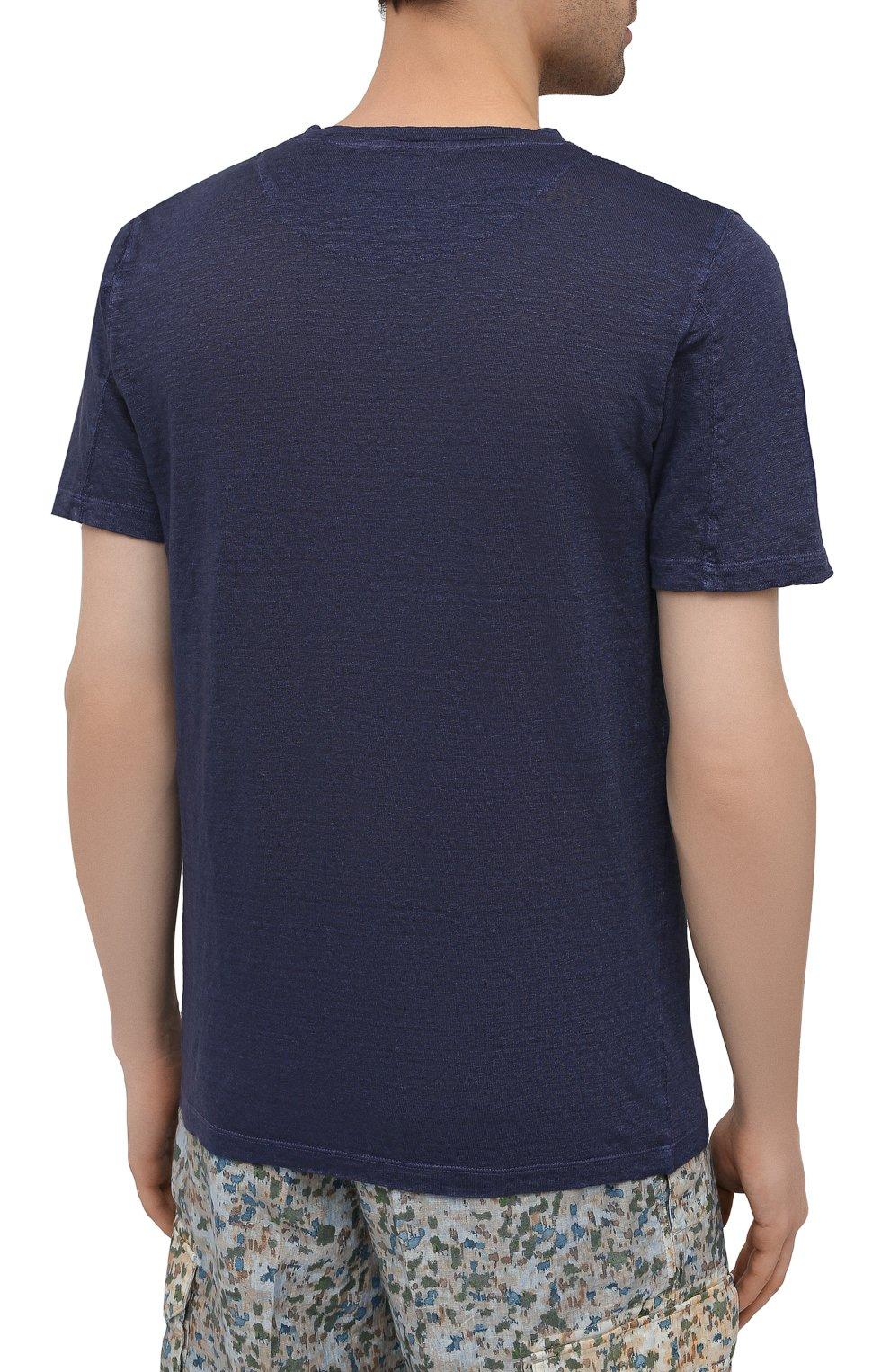 Мужская льняная футболка 120% LINO темно-синего цвета, арт. T0M7186/E908/S00   Фото 4 (Принт: Без принта; Рукава: Короткие; Длина (для топов): Стандартные; Материал внешний: Лен; Стили: Кэжуэл)