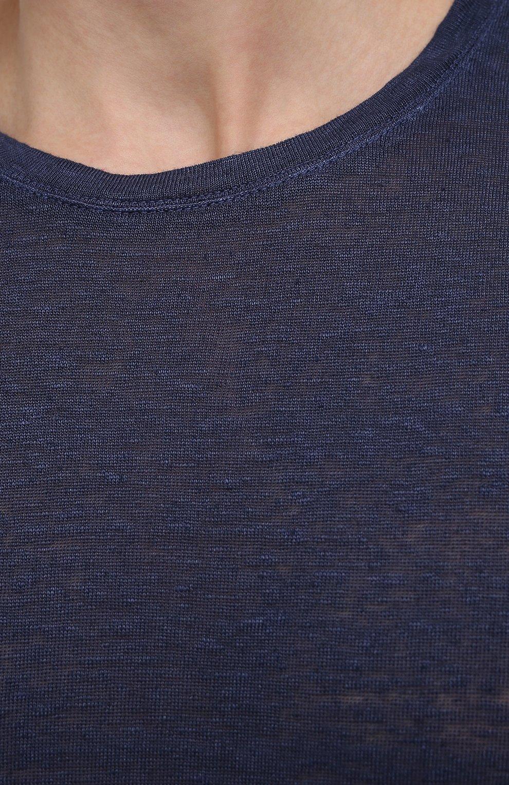 Мужская льняная футболка 120% LINO темно-синего цвета, арт. T0M7186/E908/S00   Фото 5 (Принт: Без принта; Рукава: Короткие; Длина (для топов): Стандартные; Материал внешний: Лен; Стили: Кэжуэл)