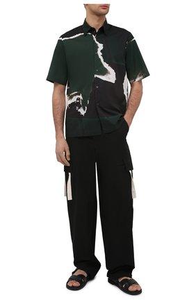 Мужская хлопковая рубашка DRIES VAN NOTEN зеленого цвета, арт. 211-20739-2063 | Фото 2