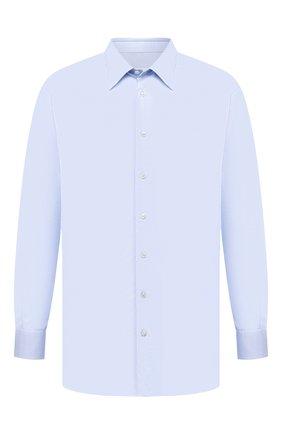 Мужская хлопковая сорочка BRIONI светло-голубого цвета, арт. RCLU0U/0807C | Фото 1 (Длина (для топов): Стандартные; Материал внешний: Хлопок; Рукава: Длинные; Случай: Формальный; Принт: Однотонные; Воротник: Акула; Рубашки М: Regular Fit; Стили: Классический; Big sizes: Big Sizes; Манжеты: На пуговицах)