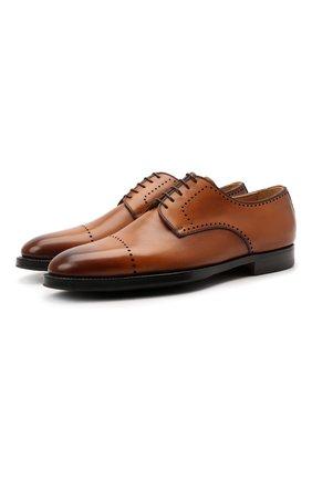 Мужские кожаные дерби KITON коричневого цвета, арт. USSDECH/N00101 | Фото 1 (Материал внутренний: Натуральная кожа; Мужское Кросс-КТ: Броги-обувь; Стили: Классический)