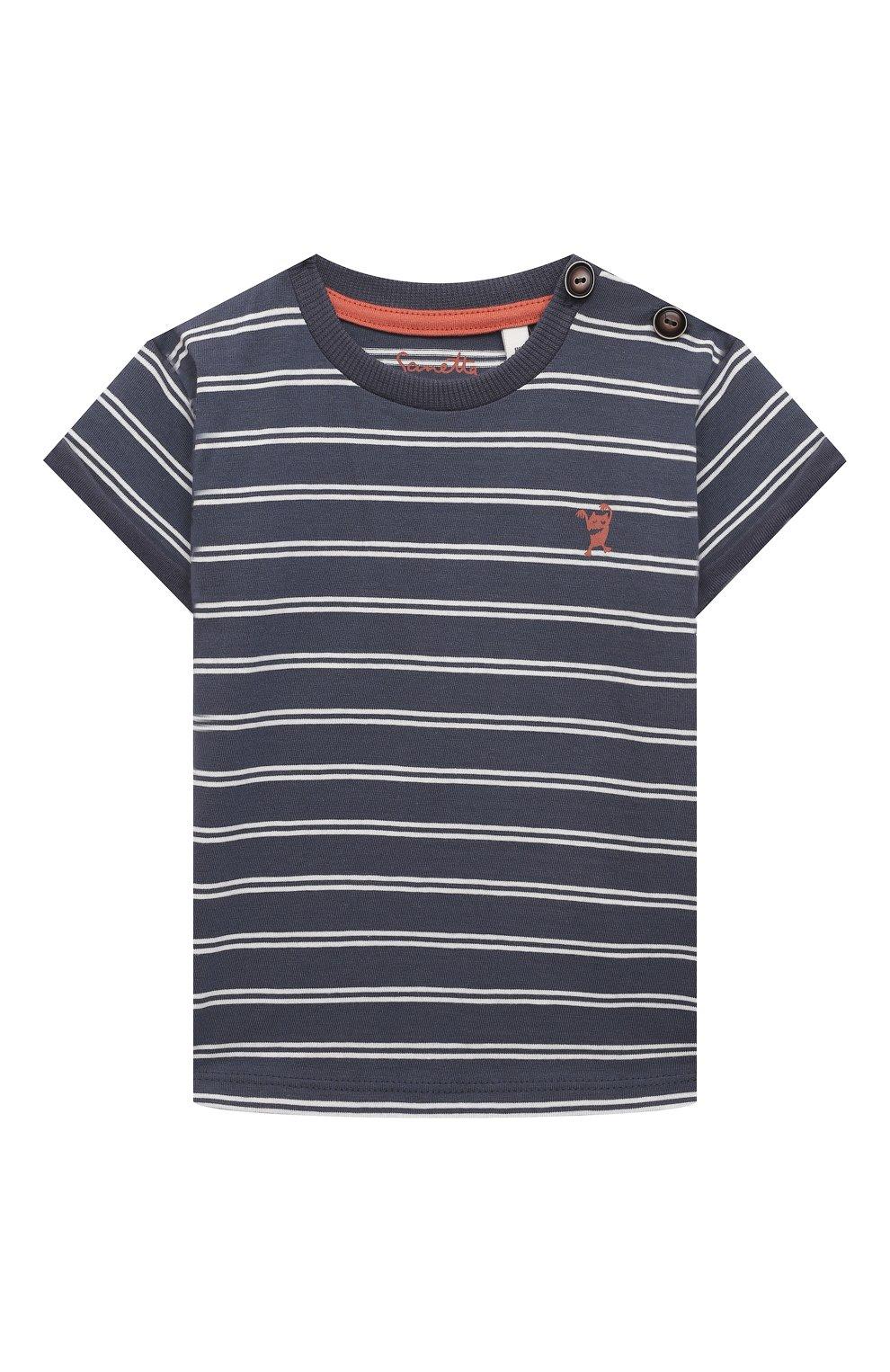 Детский хлопковая футболка SANETTA синего цвета, арт. 10202 | Фото 1