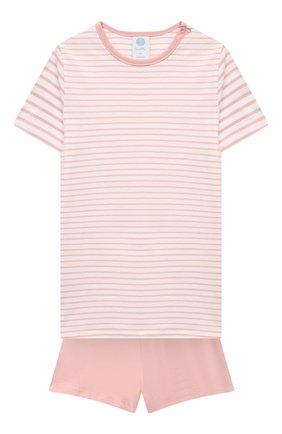 Детская хлопковая пижама SANETTA светло-розового цвета, арт. 221596 | Фото 1