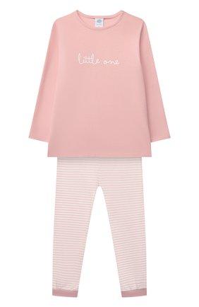Детская хлопковая пижама SANETTA светло-розового цвета, арт. 221597 | Фото 1