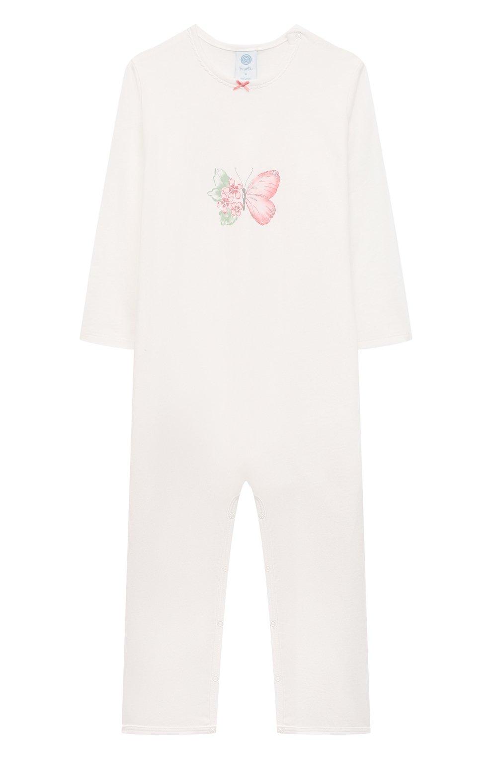 Детский хлопковый комбинезон SANETTA белого цвета, арт. 221611 | Фото 1