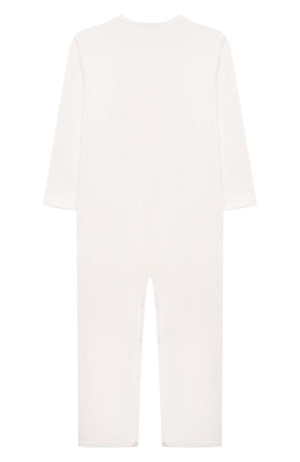 Детский хлопковый комбинезон SANETTA белого цвета, арт. 221611 | Фото 2