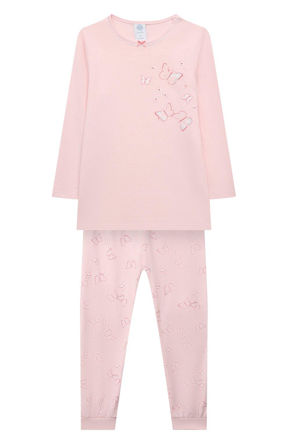 Детская хлопковая пижама SANETTA светло-розового цвета, арт. 221615 | Фото 1