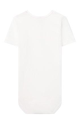 Детское хлопковое боди SANETTA белого цвета, арт. 323039 | Фото 2