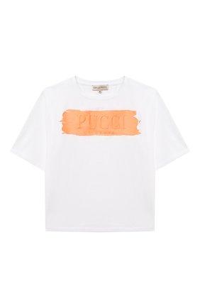 Детская хлопковая футболка EMILIO PUCCI белого цвета, арт. 9O8161 | Фото 1