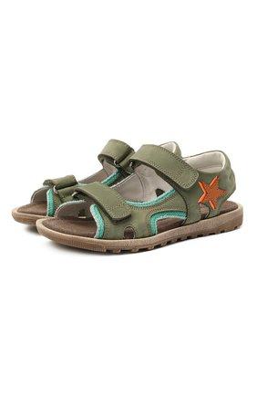 Детские кожаные сандалии RONDINELLA зеленого цвета, арт. 0767-4/5757/31-33 | Фото 1