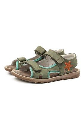 Детские кожаные сандалии RONDINELLA зеленого цвета, арт. 0767-4/5757/34-36 | Фото 1 (Материал внутренний: Натуральная кожа)