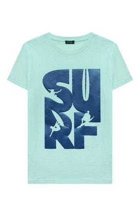 Детский хлопковая футболка IL GUFO бирюзового цвета, арт. P21TS271M0014/5A-8A | Фото 1