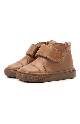 Детские кожаные ботинки PETIT NORD бежевого цвета, арт. 2530/19-23 | Фото 1
