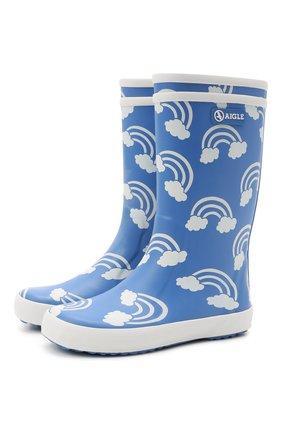 Детские резиновые сапоги AIGLE синего цвета, арт. 2527E3/L0LLY P0P PRINT | Фото 1