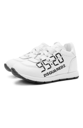 Детские кожаные кроссовки DSQUARED2 белого цвета, арт. 66901/KIPS/18-27 | Фото 1