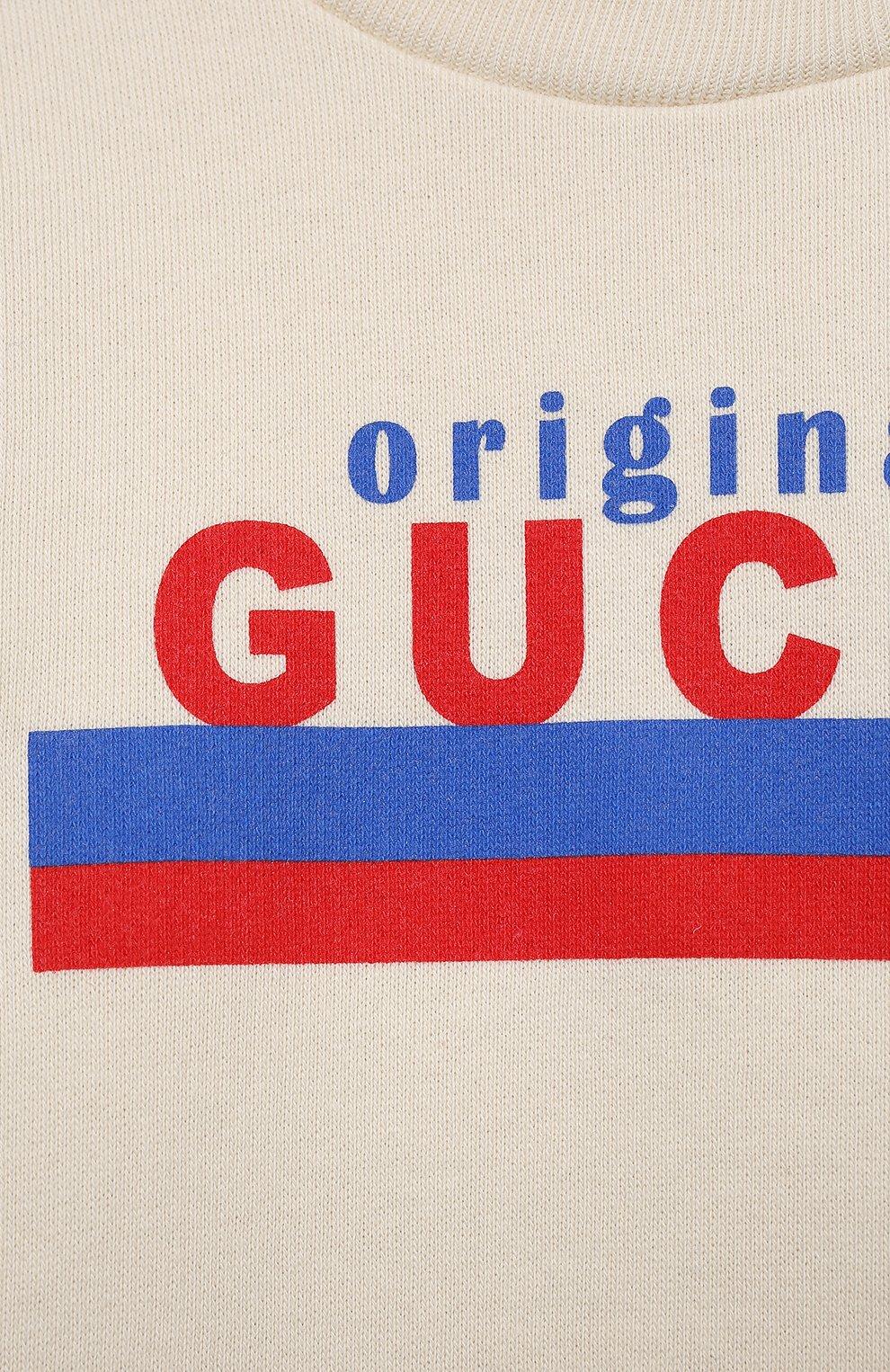 Детский хлопковый свитшот GUCCI белого цвета, арт. 629430/XJC7C | Фото 3