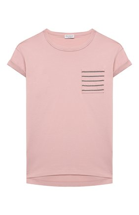 Детская хлопковая футболка BRUNELLO CUCINELLI светло-розового цвета, арт. B0A45T021B   Фото 1