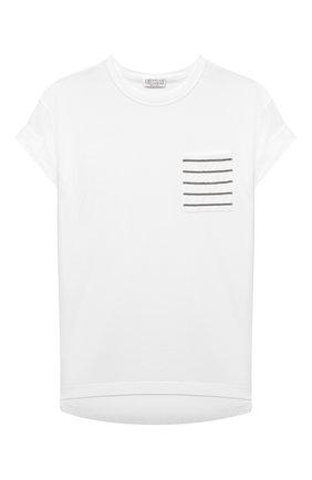 Детская хлопковая футболка BRUNELLO CUCINELLI белого цвета, арт. B0A45T021C | Фото 1