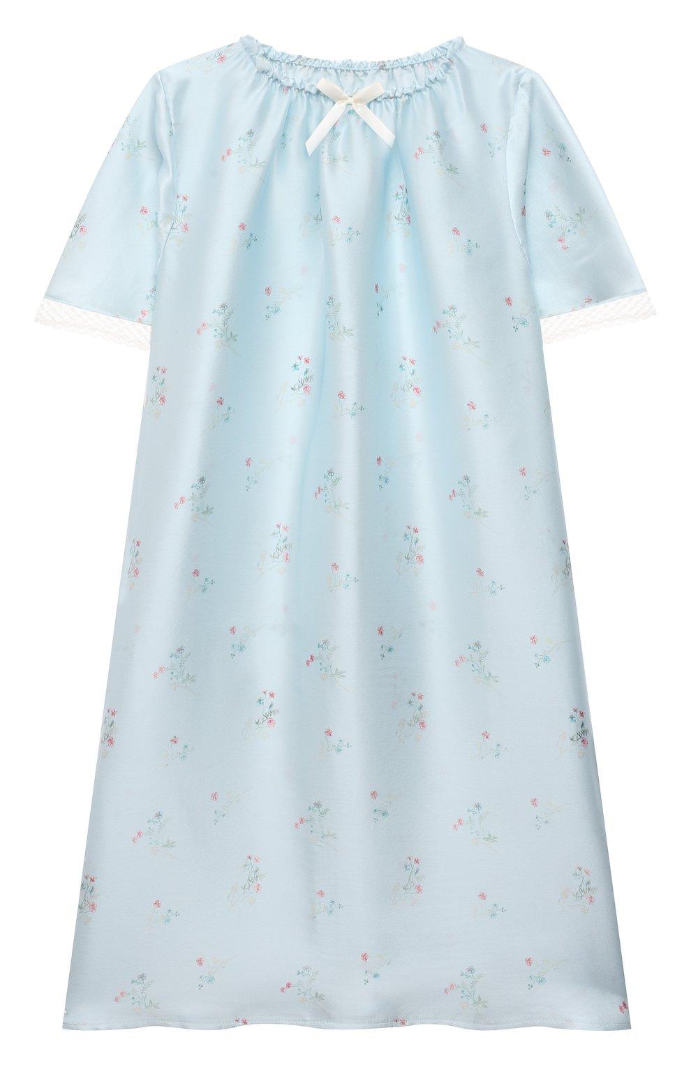 Детская шелковая сорочка AMIKI CHILDREN голубого цвета, арт. ANT0NIA   Фото 1