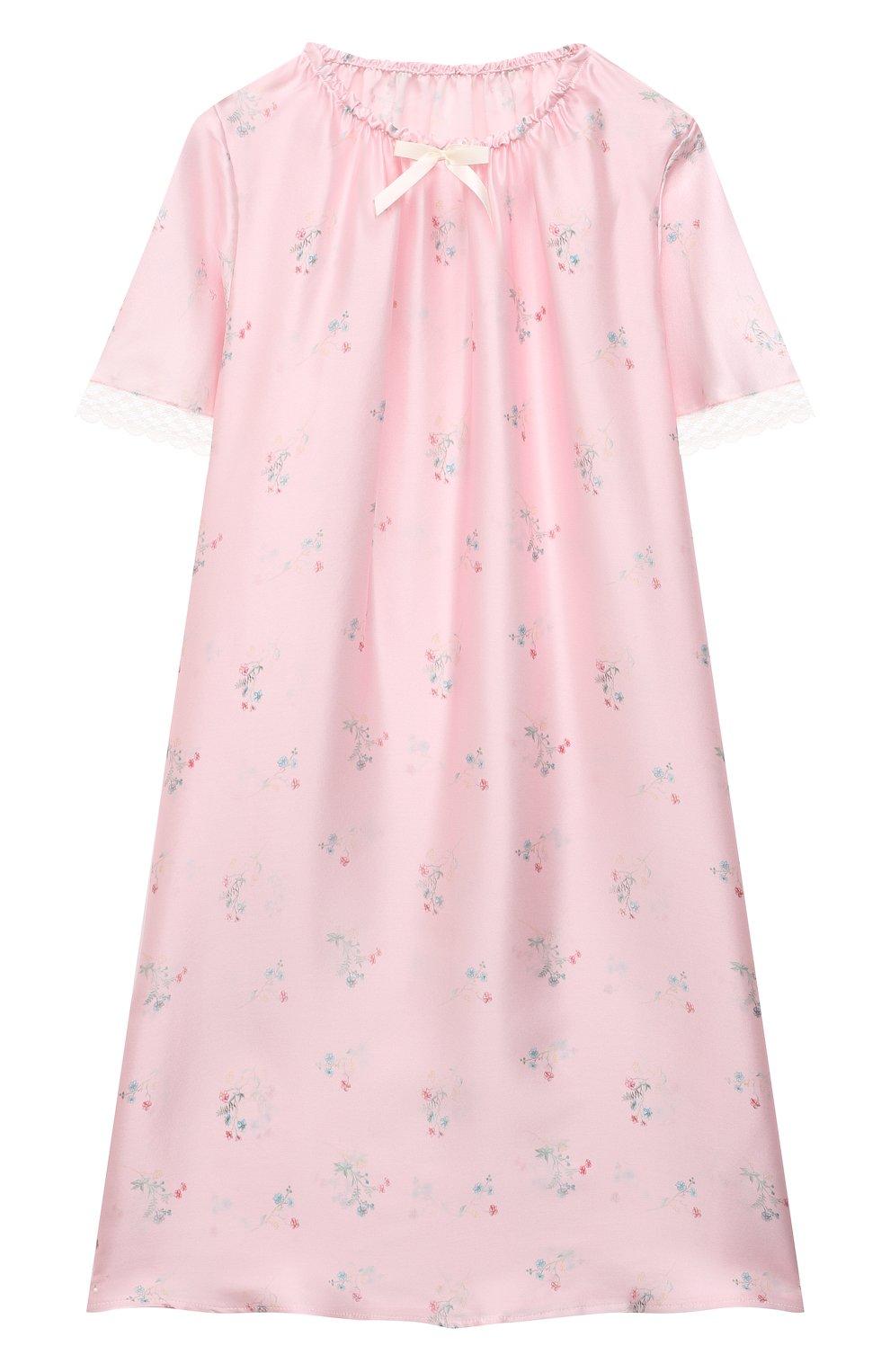 Детская шелковая сорочка AMIKI CHILDREN розового цвета, арт. ANT0NIA   Фото 1