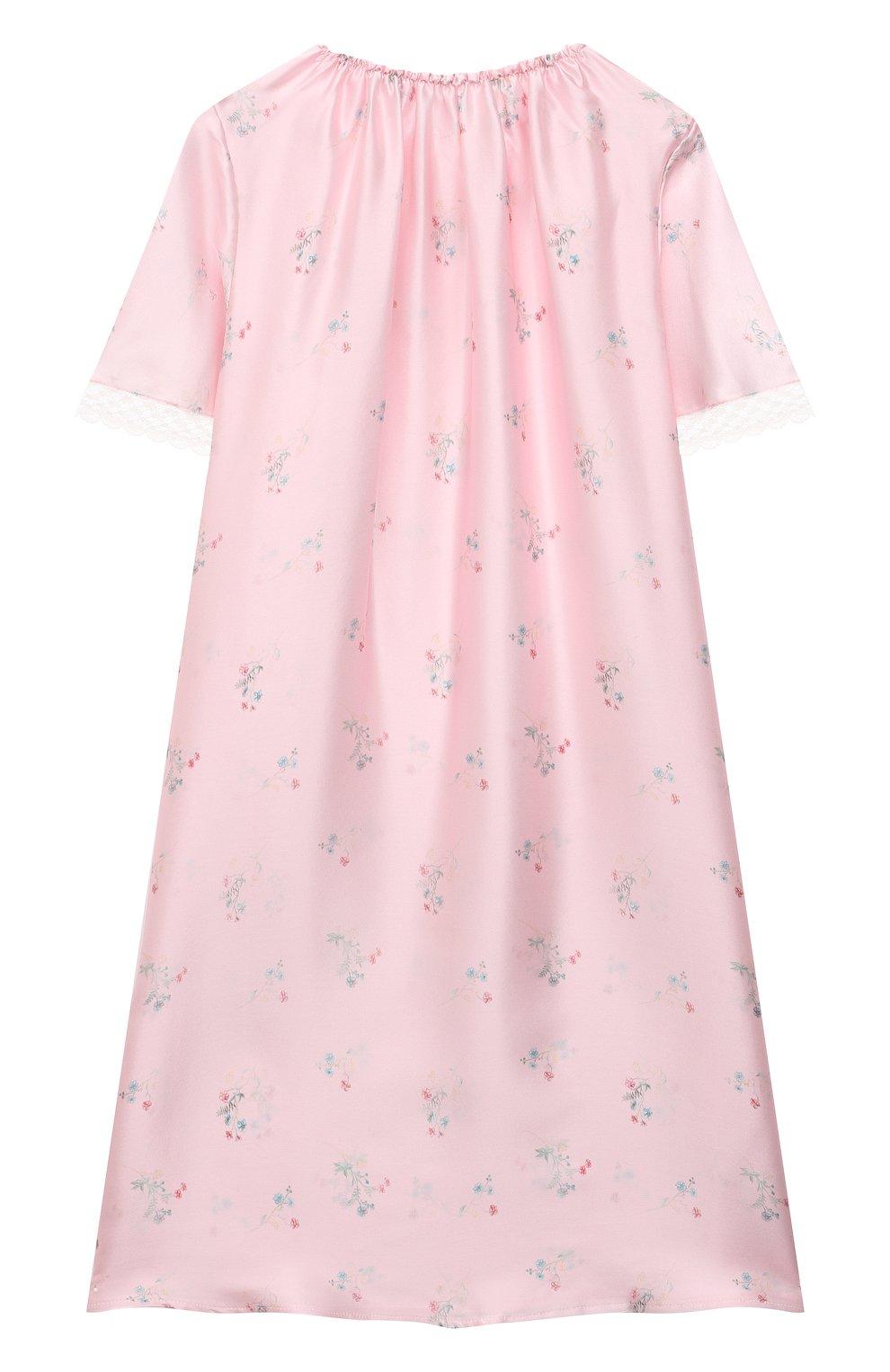 Детская шелковая сорочка AMIKI CHILDREN розового цвета, арт. ANT0NIA   Фото 2