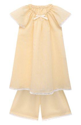 Детская пижама из хлопка и шелка AMIKI CHILDREN желтого цвета, арт. CARITA | Фото 1