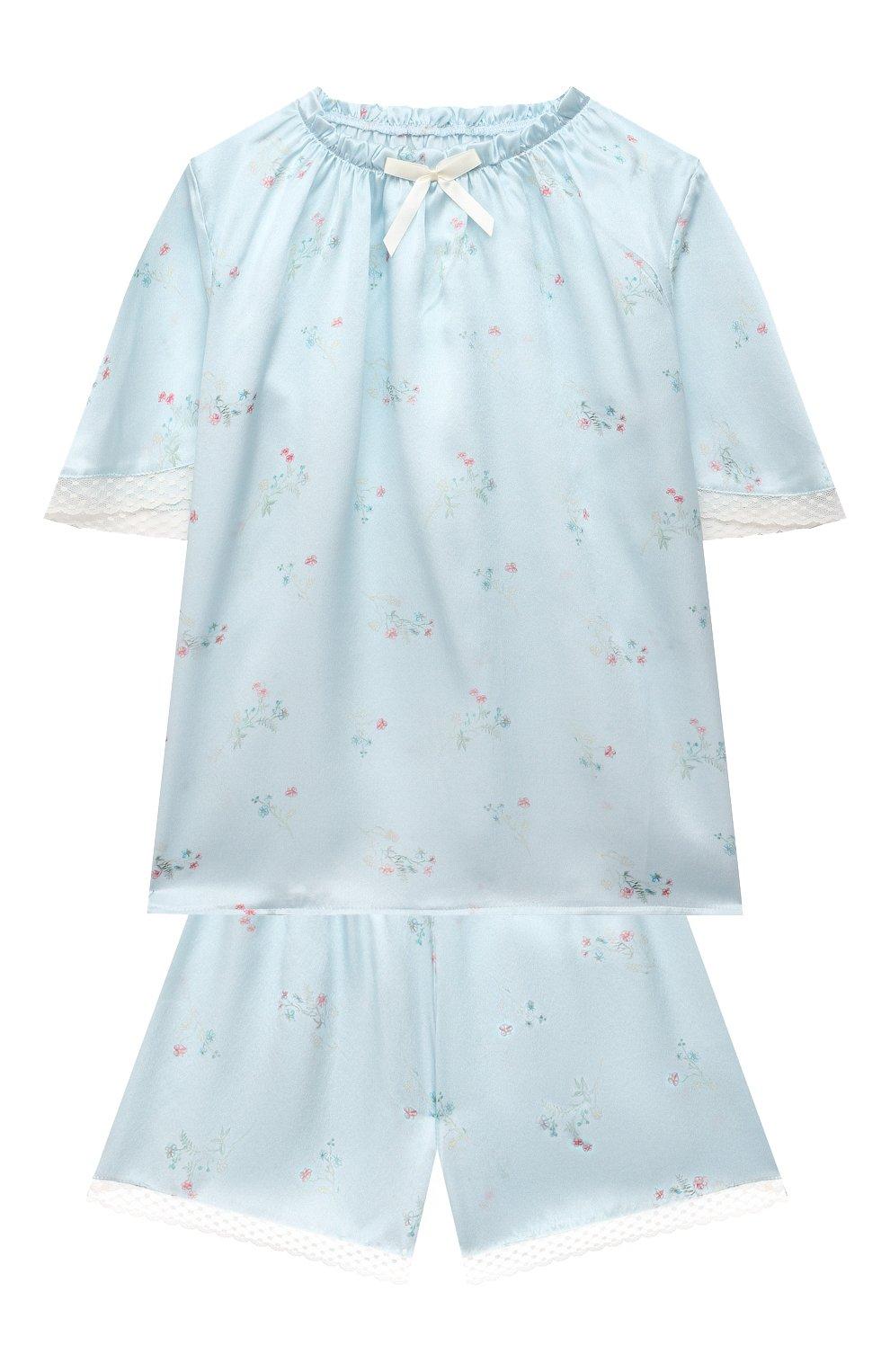 Детская шелковая пижама AMIKI CHILDREN голубого цвета, арт. P0LINA | Фото 1