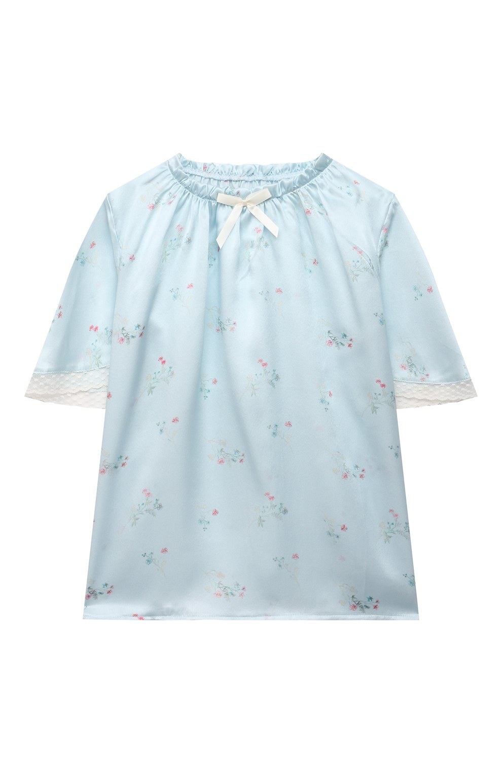Детская шелковая пижама AMIKI CHILDREN голубого цвета, арт. P0LINA | Фото 2