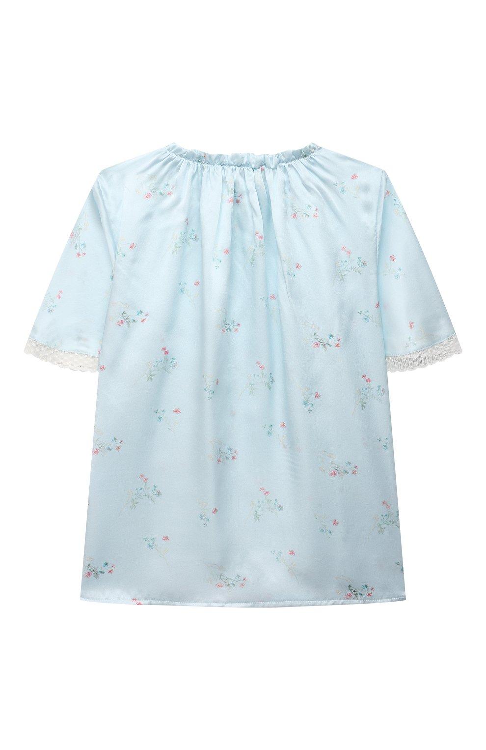 Детская шелковая пижама AMIKI CHILDREN голубого цвета, арт. P0LINA | Фото 3