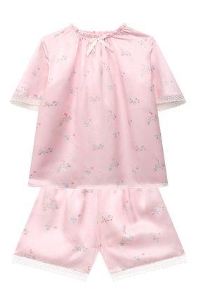 Детская шелковая пижама AMIKI CHILDREN розового цвета, арт. P0LINA | Фото 1