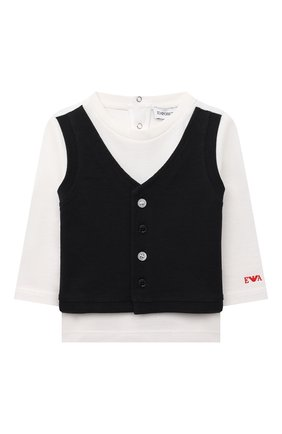 Детский хлопковая футболка EMPORIO ARMANI белого цвета, арт. 3KHT03/4J4AZ | Фото 1