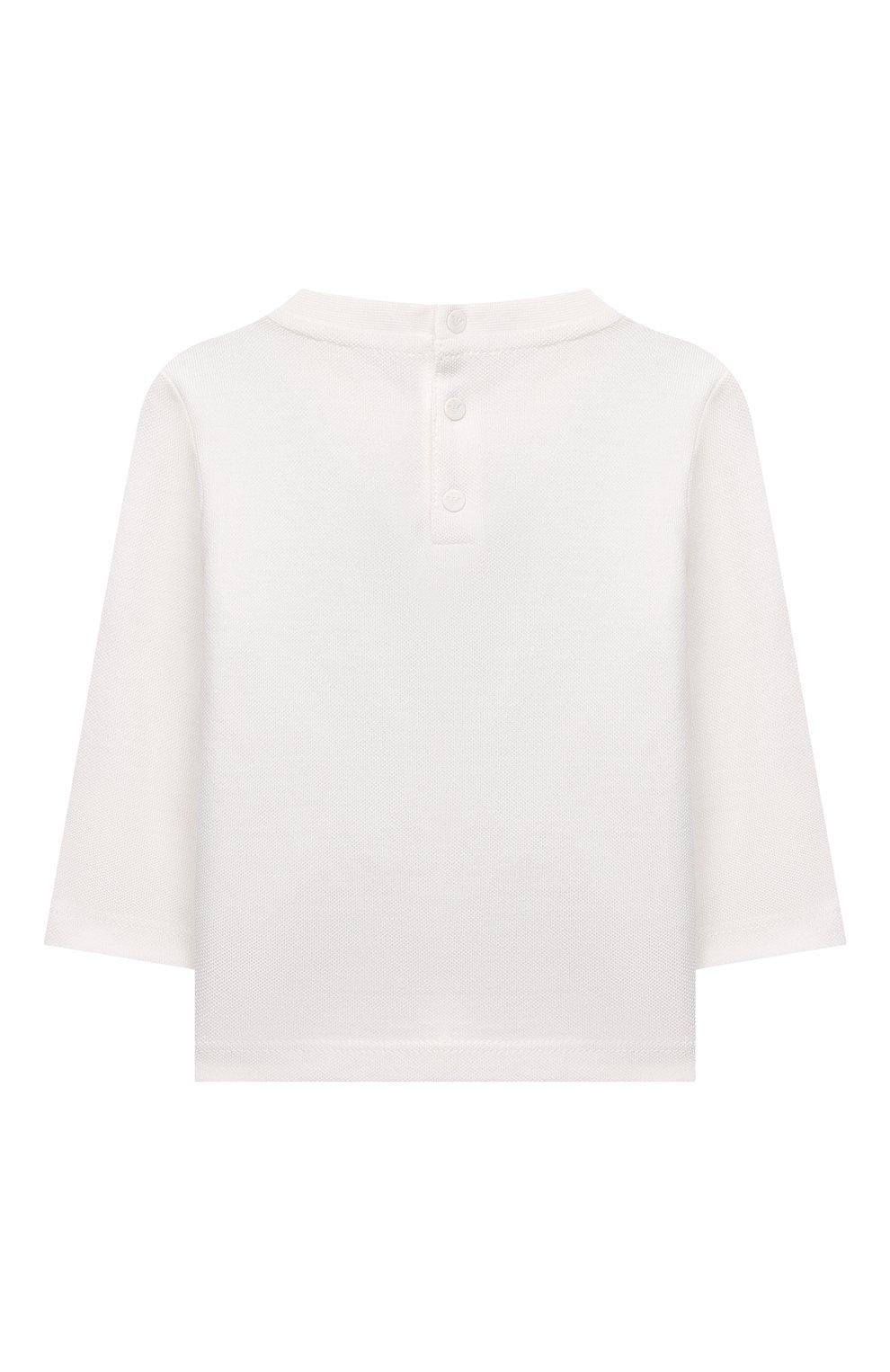 Детский хлопковая футболка EMPORIO ARMANI белого цвета, арт. 3KHT03/4J4AZ | Фото 2